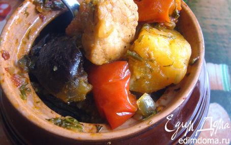 Рецепт Свинина с овощами, запечённая в горшочке (почти чанахи)