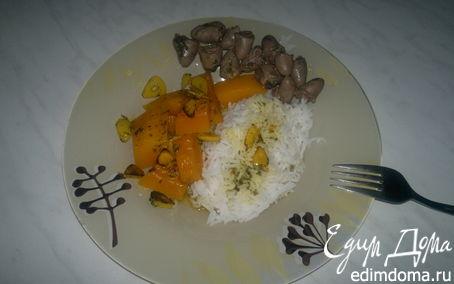 Рецепт Куриные сердечки в белом винном уксусе и белый рис с острой чесночной тыквой