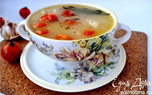 """Рецепт Суп с курицей,белой фасолью и помидорами""""черри"""""""