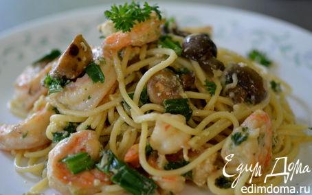 Рецепт Спагетти с креветками и грибами