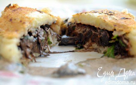 Рецепт Картофельные котлеты с грибной начинкой и сливочно-грибным соусом