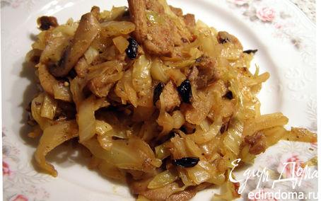 Рецепт Капуста, тушёная с грибами, свининой и барбарисом