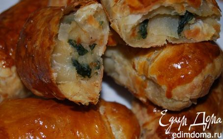 Рецепт Слоеные пирожки с горохом и шпинатом