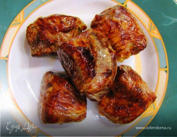Шашлык из говяжьей печени в жировой сетке