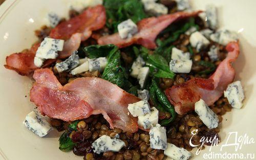 Рецепт Салат из чечевицы со шпинатом и горгонзолой