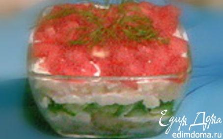 Рецепт Салат рыбный под сырным соусом
