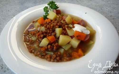 Рецепт Сытный суп с чечевицей и венскими сосисками