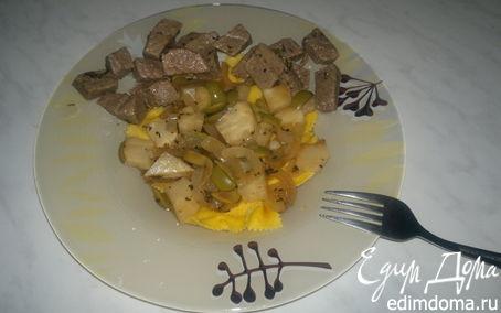 Рецепт Крестьянская паста с сельдереем ,оливками и луком и тушеная говядина.