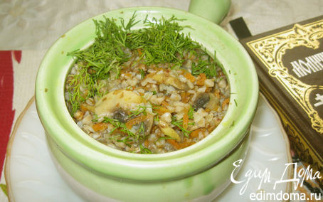 Рецепт Гречневая каша с грибами «Трапеза юной монашки»