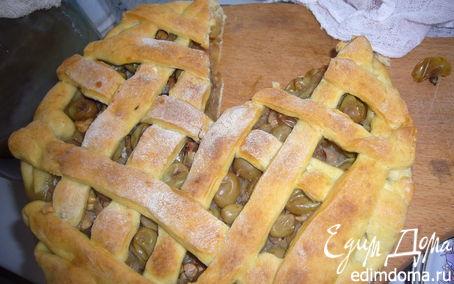 Рецепт Тарт с виноградом,орешками и яблоками