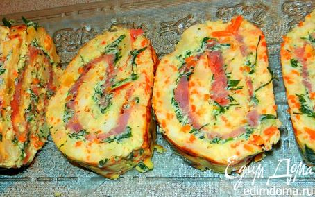 Рецепт Праздничный сырный рулет с форелью