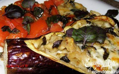 Рецепт Баклажан, фаршированный сыром, с гарниром из помидоров
