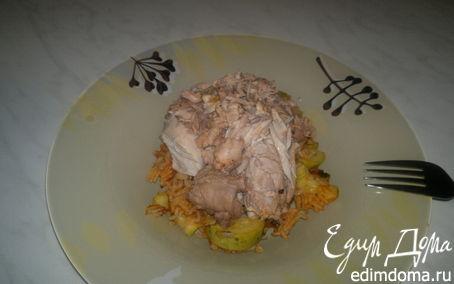 Рецепт Упрощенный ризотто в томате с кабачком, чесноком и имбирем + отварной кролик.