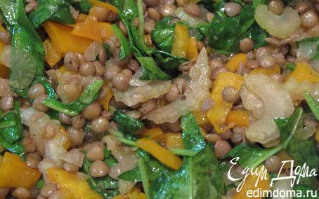 Рецепт Салат из чечевицы с сельдереем, шпинатом и грудинкой