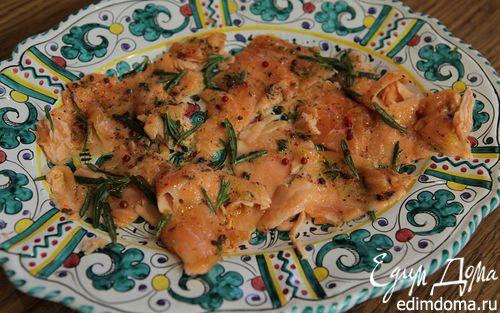 Рецепт Карпаччо из семги с розовым перцем