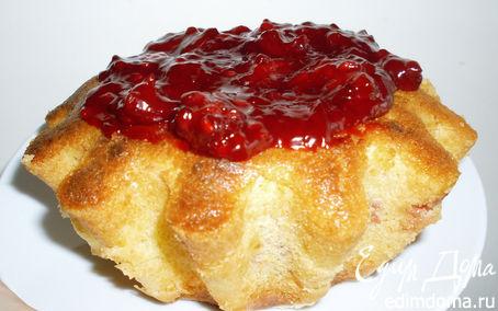 Рецепт Творожный кекс с замороженными ягодами и киселём