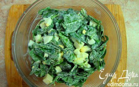 Рецепт Салат из шпината с яйцом и сыром сулугуни