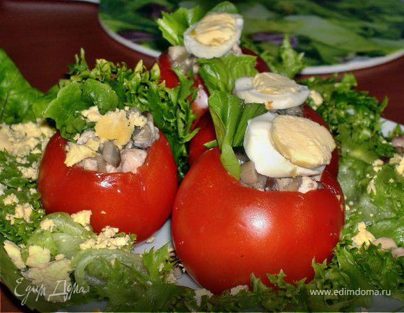 Помидоры,фаршированные грибами и мясом курицы