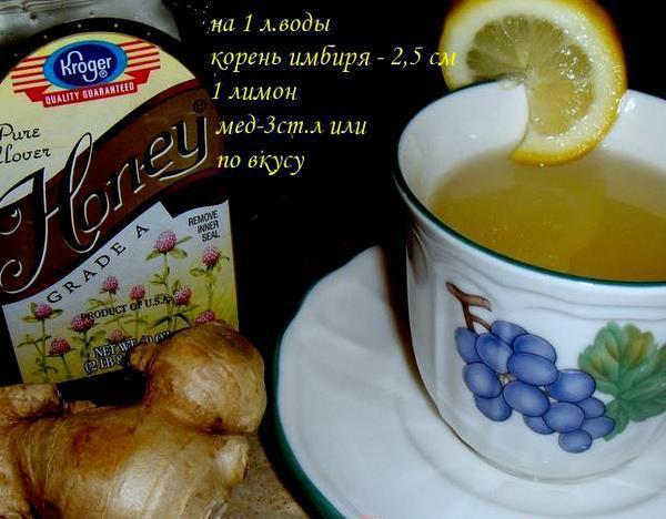 Рецепт чая из имбиря с лимоном и медом