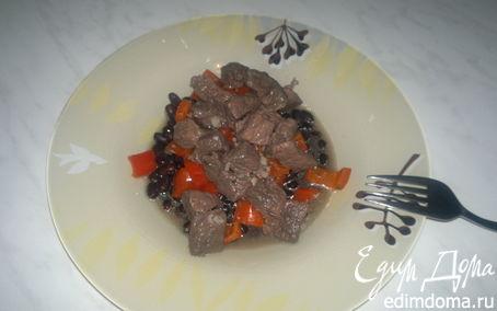Рецепт Говядина в вине + сладкий обжареный перец и черная фасоль