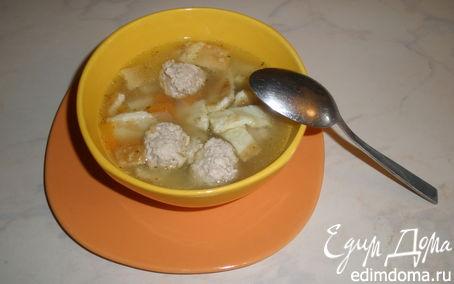 Рецепт Легкий супчик с фрикадельками и яичной лентой