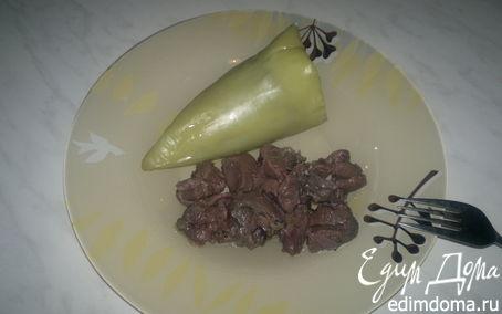 Рецепт Перец фаршированый гречкой, луком и грибами и баранина с ягодами черной смородины.