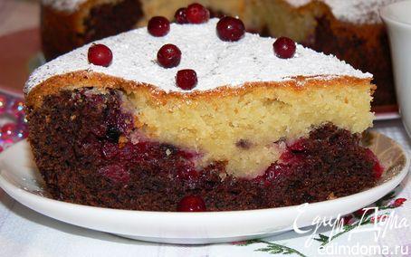 Рецепт Черно-белый пирог с брусничной прослойкой