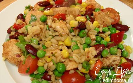 Рецепт Салат из курицы с булгуром, фасолью и овощами