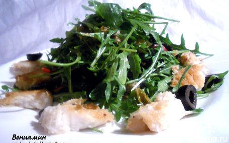 Рецепт Теплый салат с мясом акулы