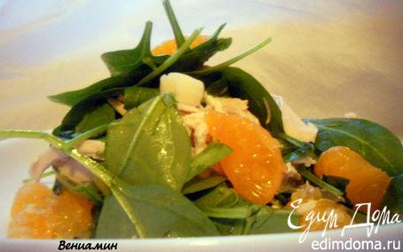 Рецепт Салат со шпинатом, курицей и мандаринами