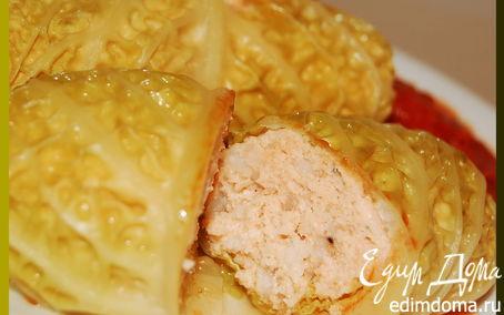 Рецепт Голубцы из савойской капусты с фаршем из семги в пароварке
