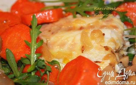 Рецепт Сибас, запеченный с грибами и морковью