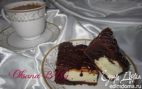 Рецепт Запеканка на шоколадном тесте, с горячим шоколадом.