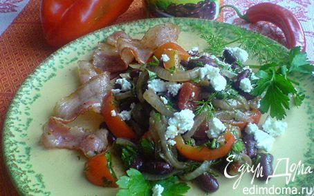 Рецепт Тёплый салат с красной фасолью и беконом