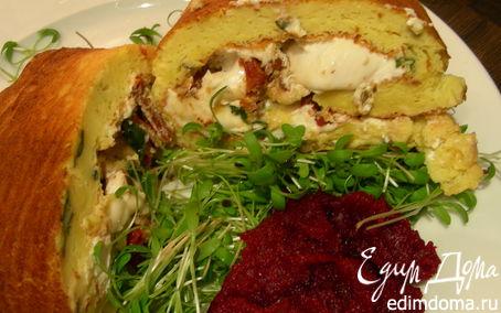 Рецепт Воздушный рулет с рикоттой, козьим сыром, вялеными томатами и базиликом