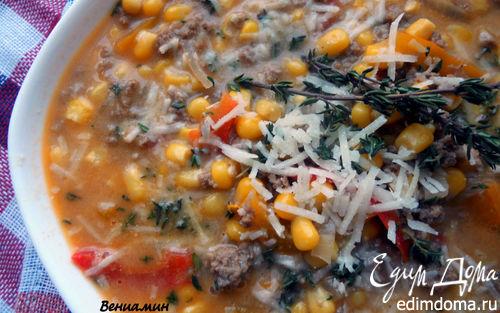 Рецепт Суп с фаршем, сладким перцем, кукурузой и дижонской горчицей