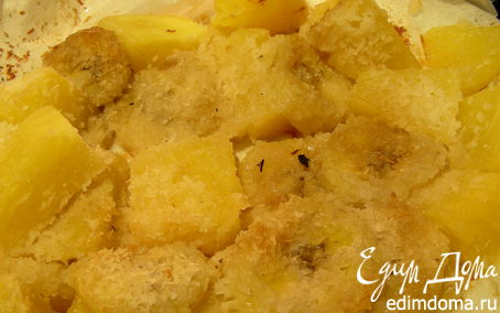 Рецепт Теплый десерт из банана, ананаса и кокоса