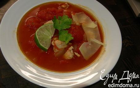 Рецепт Томатный суп с курицей и лаймом