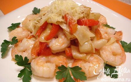 Рецепт Лапша паппарделле с креветками и сладким перцем