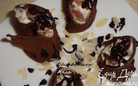 Рецепт Шоколадные роллы (или шоколадные блинчики с маскарпоне и грушей)