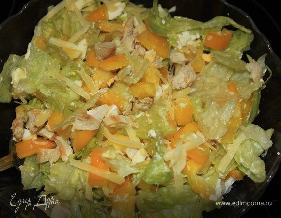 рецепты салатов с курицей и сыром и перцем