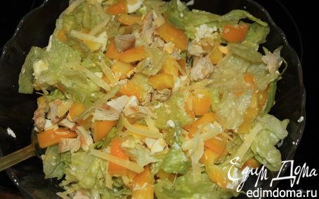 Рецепт Салат с курицей, сладким перцем и сыром Филадельфия