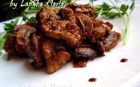Рецепт Свинина жареная с грибами и сушеными помидорами