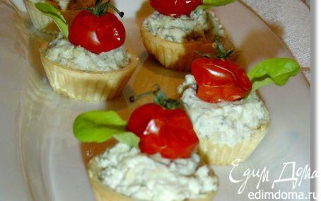 Рецепт Закусочные тарталетки с рокфором и помидорами черри