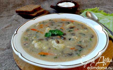 Рецепт Густой суп с шампиньонами и картофельными клёцками
