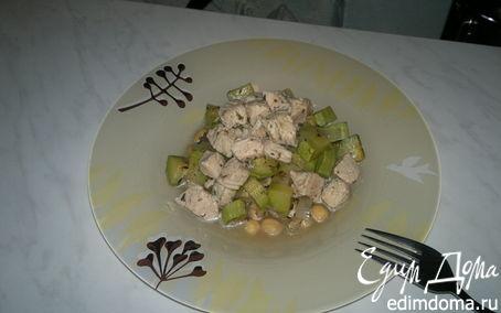 Рецепт Нутовая похлебка с чесночным бульоном из индейки и кабачком