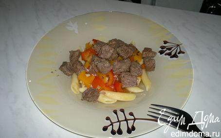 Рецепт Паста с говядиной в 3 видах перца и бальзамике, сладкая тыква и перец с ченоком