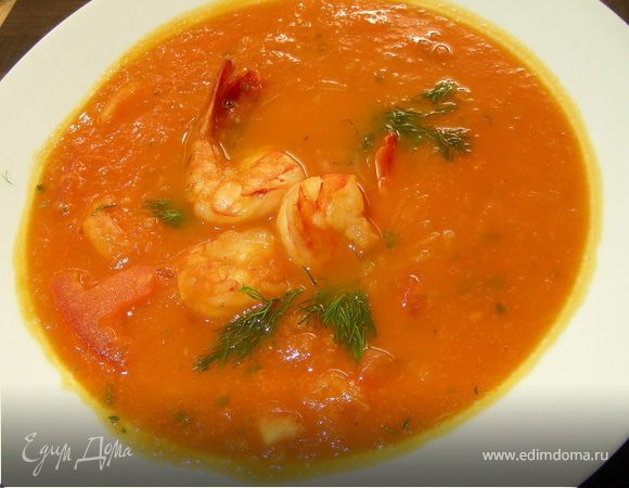 Томатный суп с фенхелем и креветками