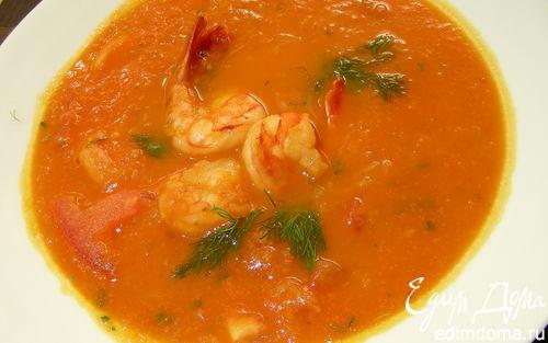 Рецепт Томатный суп с фенхелем и креветками