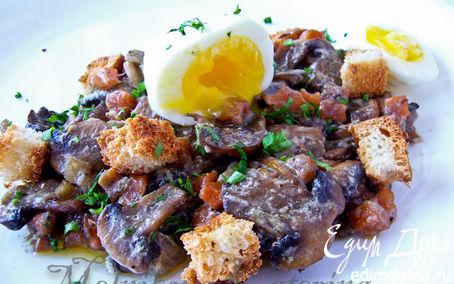 Рецепт Грибное рагу с яйцом пашот и крутонами